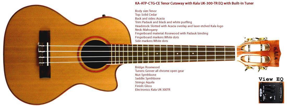Kala Solid Cedar Top Tenor Ukulele