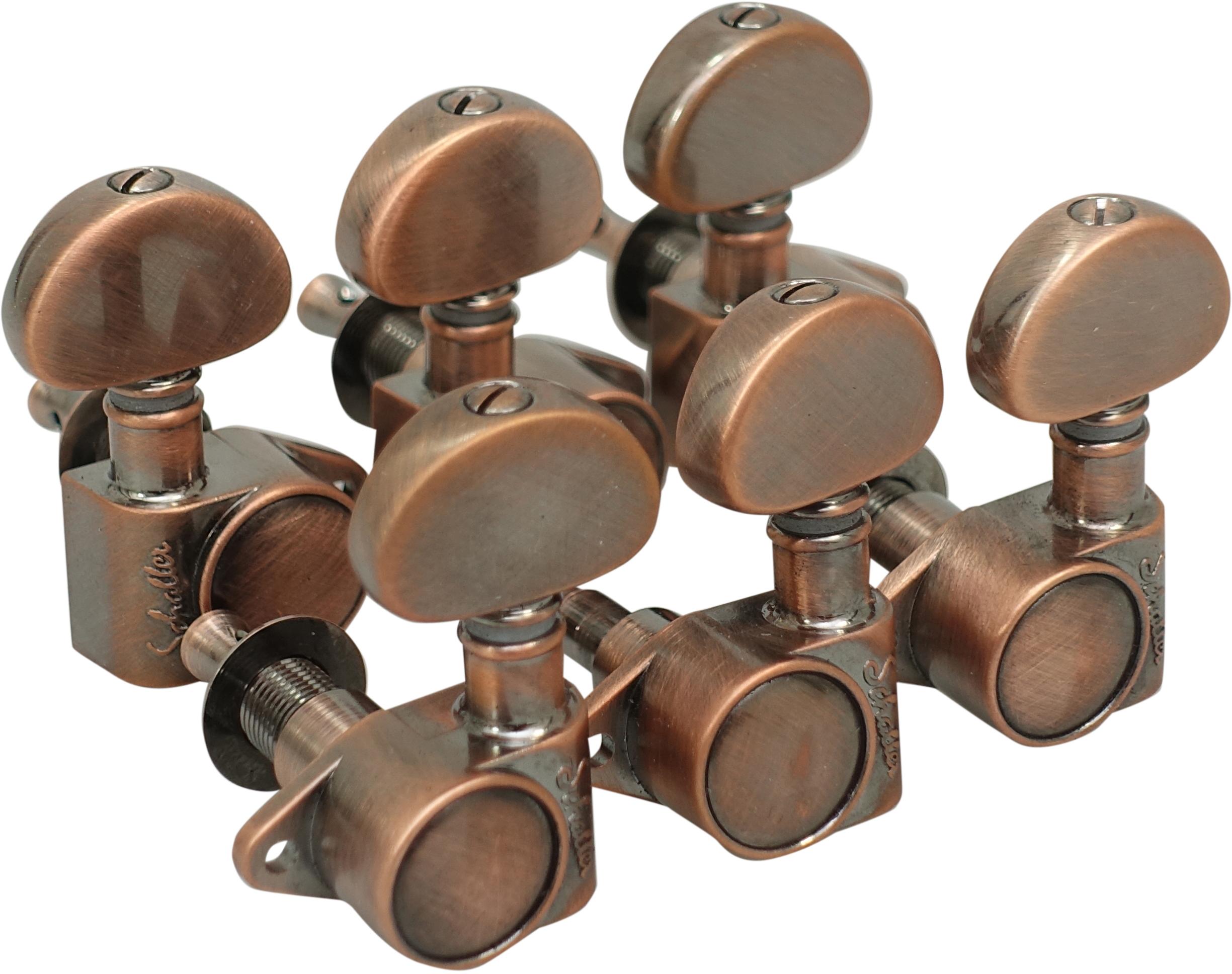 Schaller Machine Head M6 Vintage 3 left/ 3 right. Vintage Copper