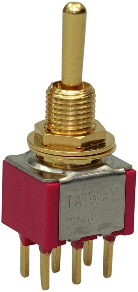 Taiway DPDT On/On/On PC Mount Gold