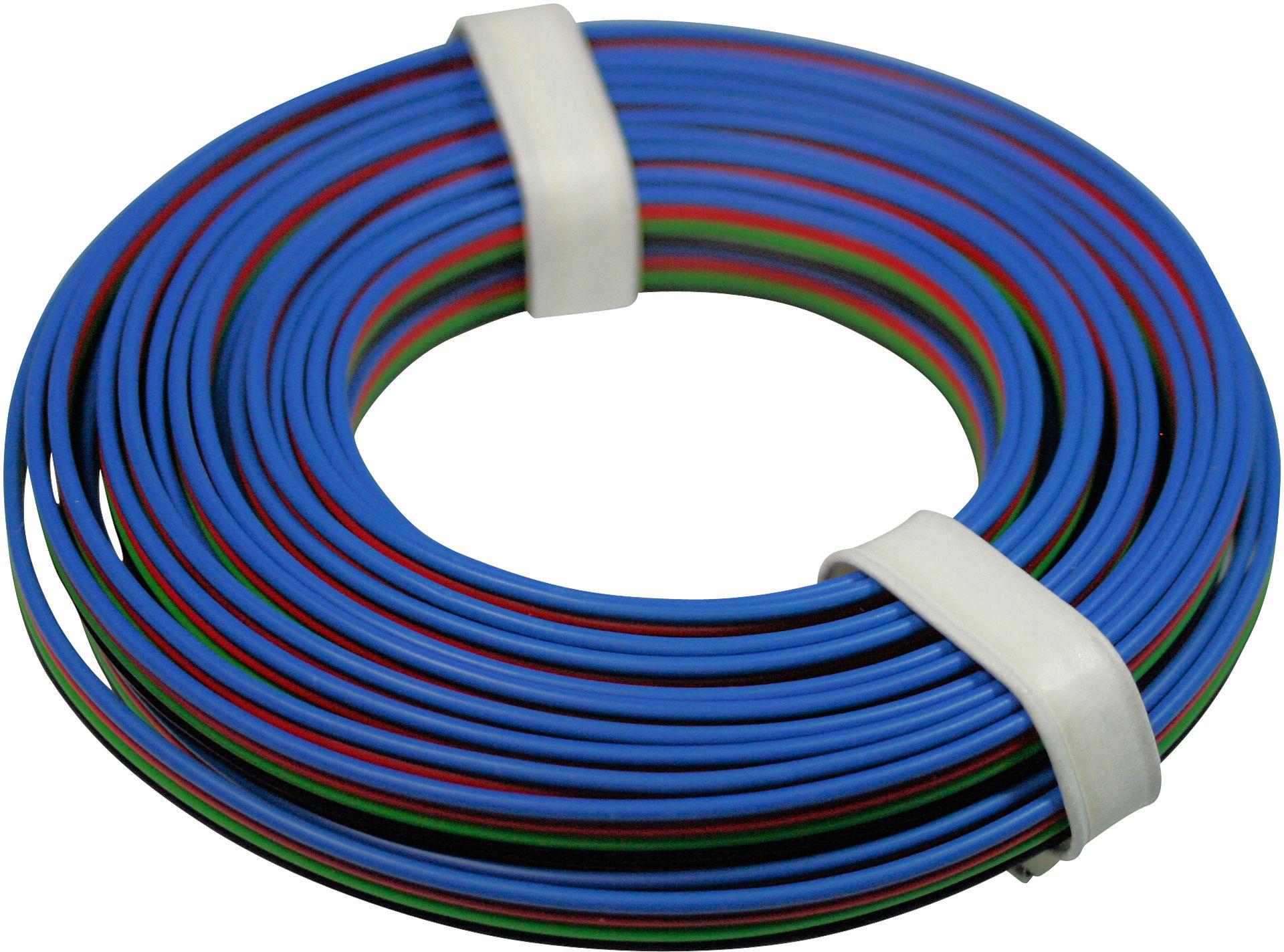 Quad Wire 0,25mm, bk/gn/rd/bl, 5m