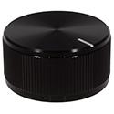 Aluminum knob black, notched tip, 32mm